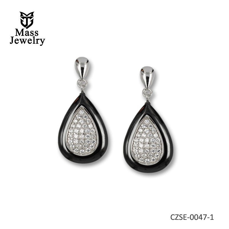 Sterling silver earrings with pave cubic zirconia, ceramic and butterfly fastener