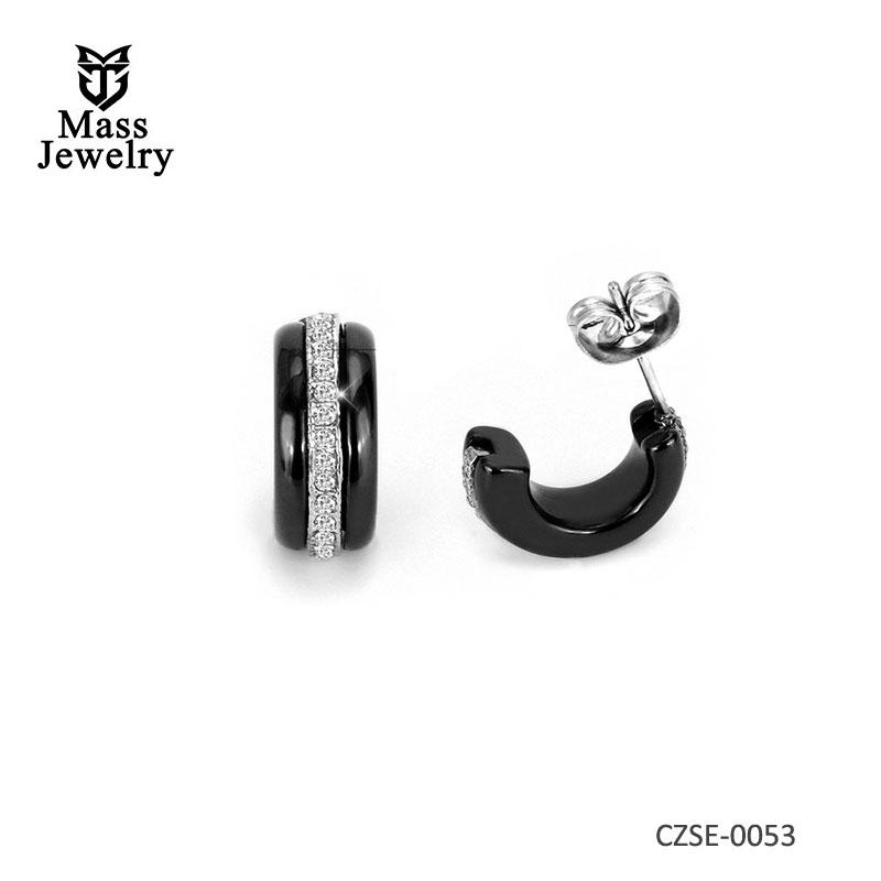 Fashion Luxury Ceramic Earrings For Women Silver Nail Zircon CZ Earrings Of Stud Prisoner Jewelry