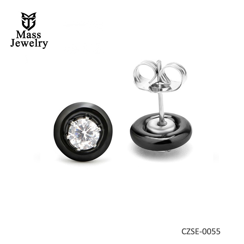 New Fashion Small Round Nail Silver Plated Ceramic Jewelry Stud Earrings Stone Stud For Women Bijoux