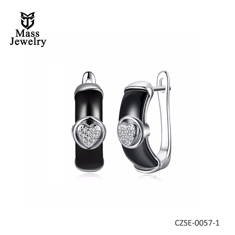 New Ceramic Style 925 Sterling Silver Earring Fashion Jewelry For Women Gift