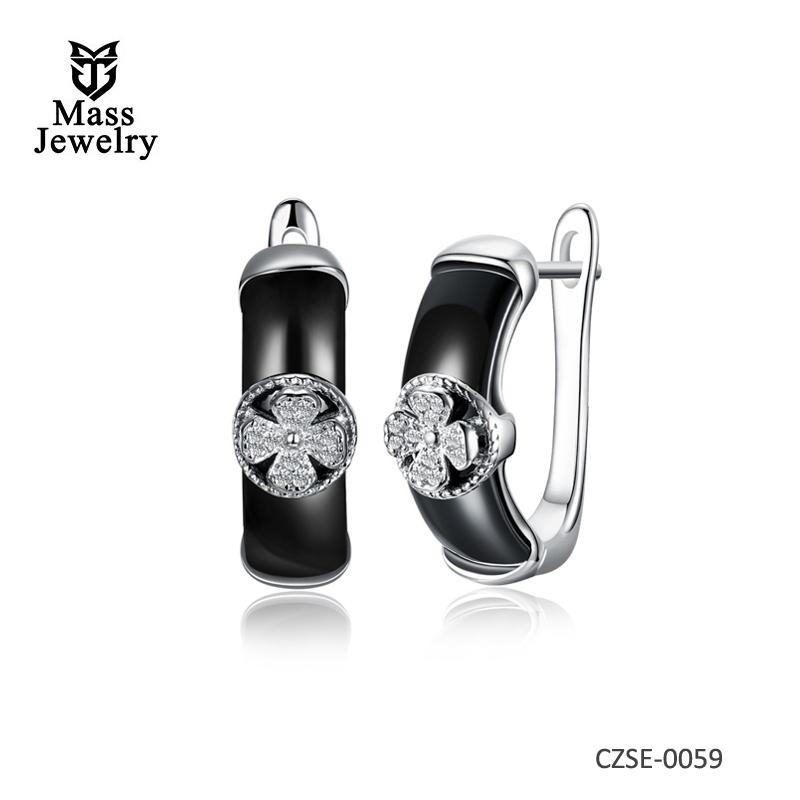 Genuine 925 sterling silver ladies fashion trend earrings creative personality ceramic earrings