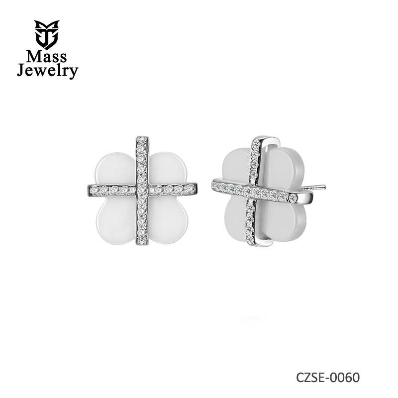925 Sterling Silver Earring Ladies White Black Elegant Shamrock Ceramic Zirconia Earrings Women's