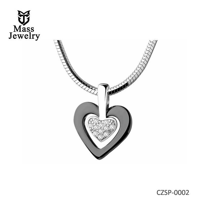 Silver Pendant With Ceramic And Cubic Zirconias