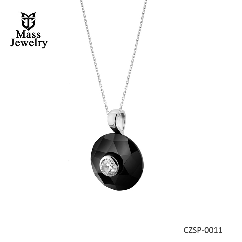 Silver Pendant With Ceramic And Cubic Zirconi