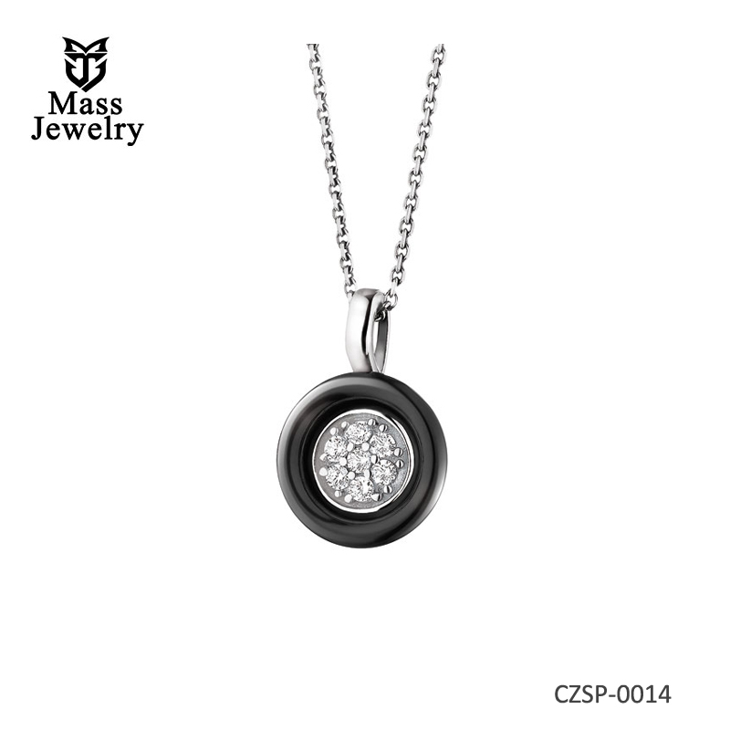 Silver Pendant With Cubic Zirconias And Ceramic