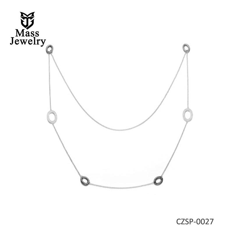 Black Ceramic Ovel Links CZ Necklace