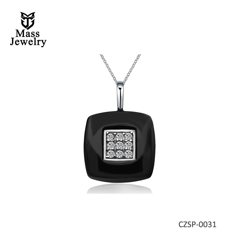 Fashion Jewelry Simple Black Ceramic Cubic Zircon Square Pendant Necklaces With  925 Sterling Silver