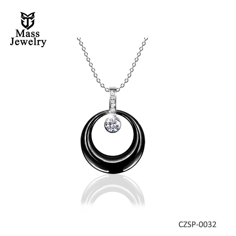 Silver Pendant Wedding Necklace Big Crystal CZ Chain Ceramic Jewelry Necklace Wholesale