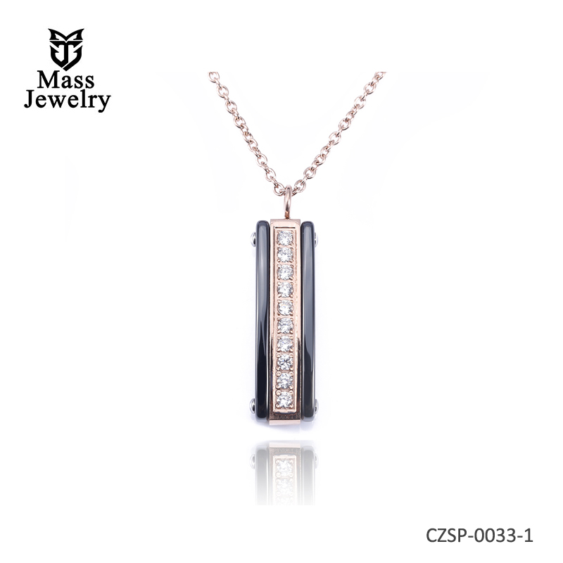 Black Ceramic Necklaces For Women Rose Gold Color Zircon Shiny Pendant Necklaces With Extended Chain