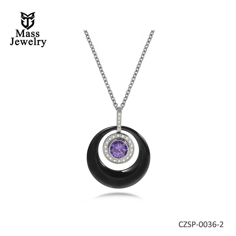 Ceramic Pendant Necklaces Decorate Purple Cubic Zircon Around Small Zircons Luxury Statement