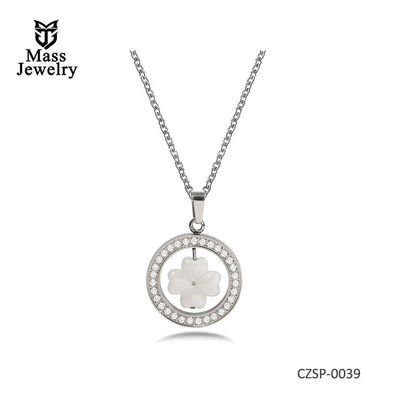 Ceramic Necklace Rotatable White Clover Pendant Inlaid Shiny Silver Cubic Zircon Necklaces