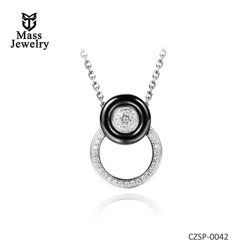 Jewelry metal chokers necklaces colorful CZ silver ceramic necklaces & pendants for women