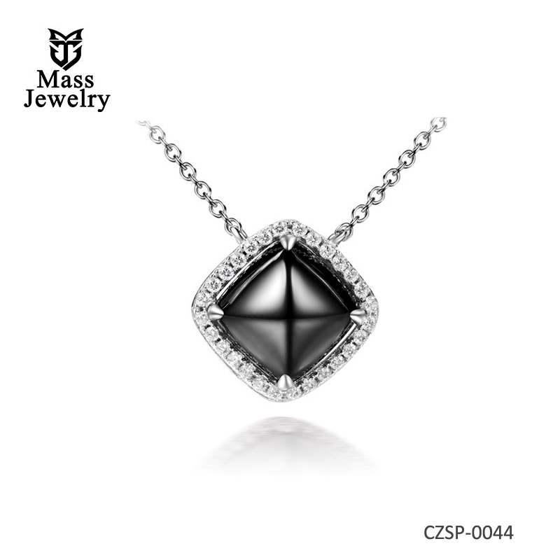 Silver plated square shaped round ceramic necklaces for women Metal chokers necklaces with CZ