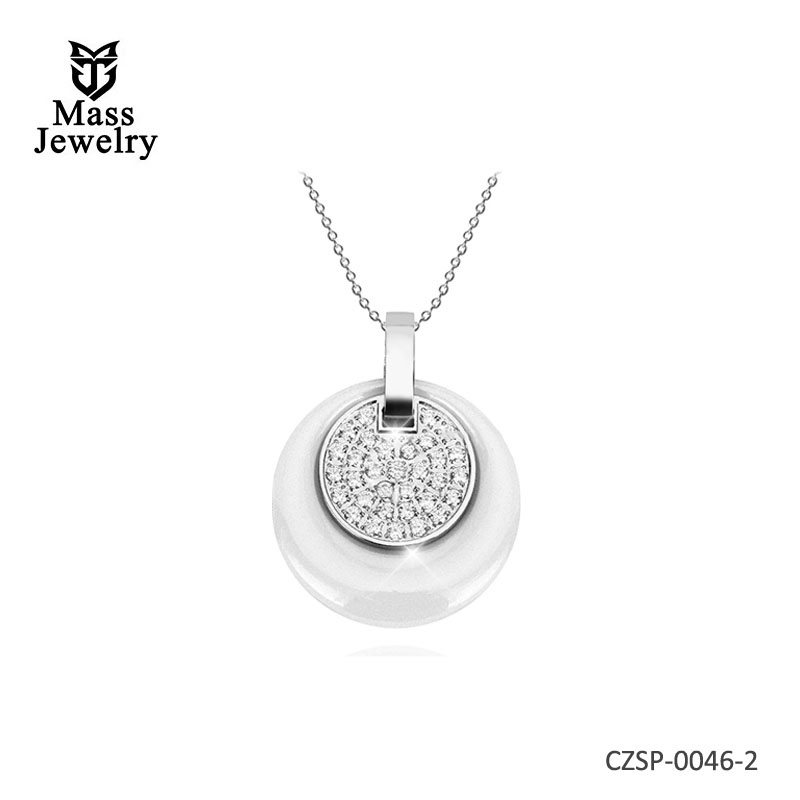 New Double Layers Circle Ceramic Pendant Necklace  For Women Rhinestone Black Women Ceramic Necklace