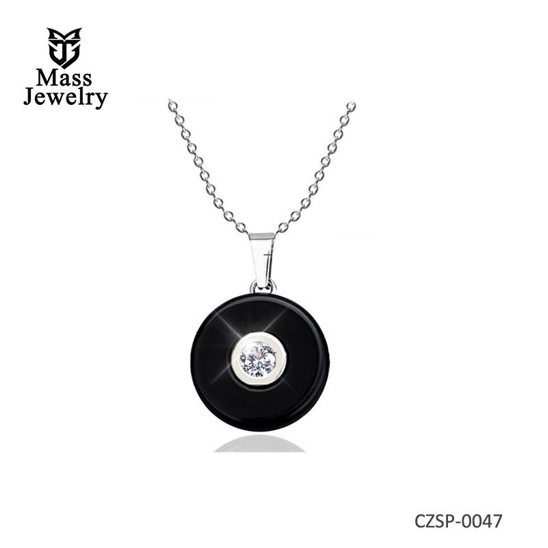 Hot Sale Women Necklace Geometric Jewelry Black Ceramic Necklaces & Pendants