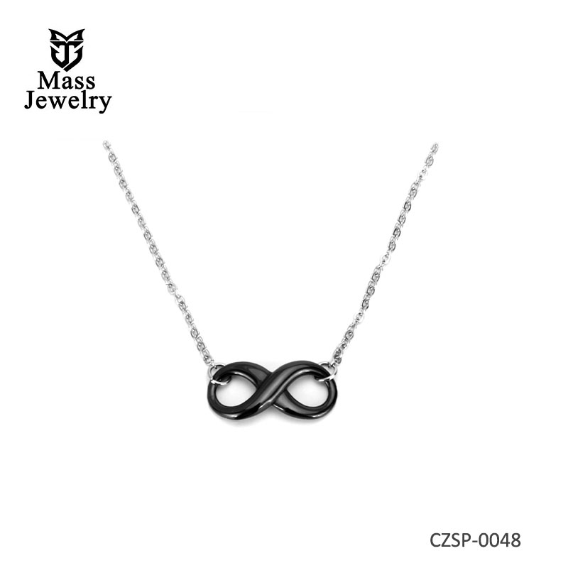 Simple Style Ceramic Infinity Pendant Necklaces With e 42CM Chain For Women Ceramic Necklace Jewelry
