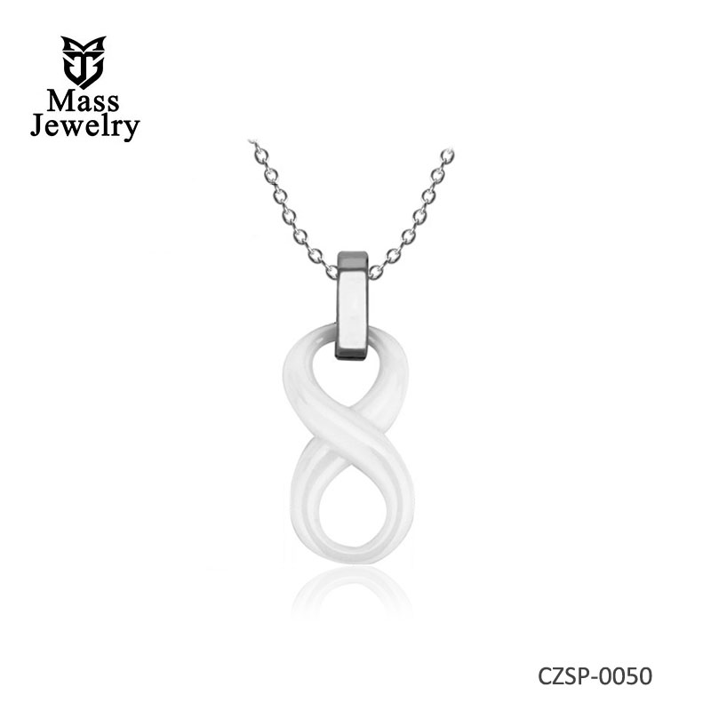Black White Ceramic Infinity Symbol Pendant Necklace Simple For Women Lady Number 8 Pendant