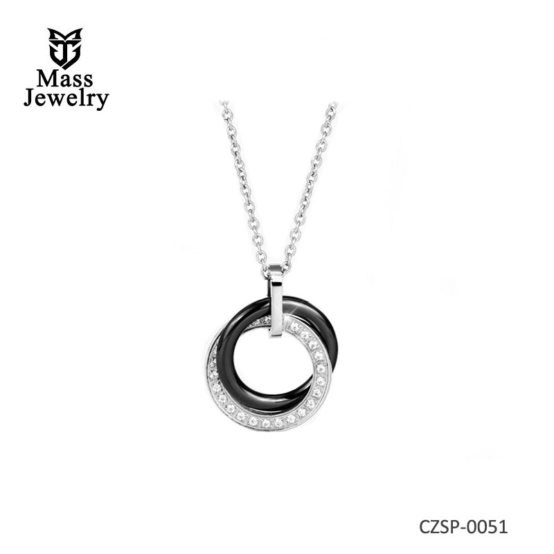 Ceramic Jewelry Double Circles Round Choker Necklace Women Crystal Necklaces & Pendants