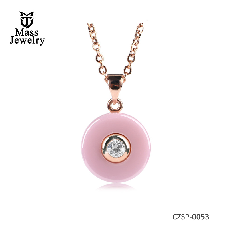 New Romantic Pink Ceramic Pendant Necklace With Rose Gold Silver Round Shape For Women Jewelry