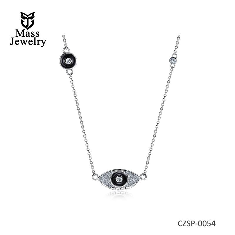 Hemiston 925 Sterling Silver Ceramic Black Eyes Zircons Necklaces & Pendants For Women