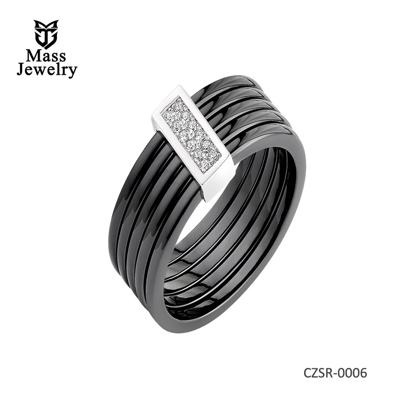 SILVER RING WITH CERAMIC AND CUBIC ZIRCONIAS