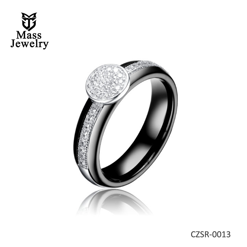 Black Ceramic Silver Ring