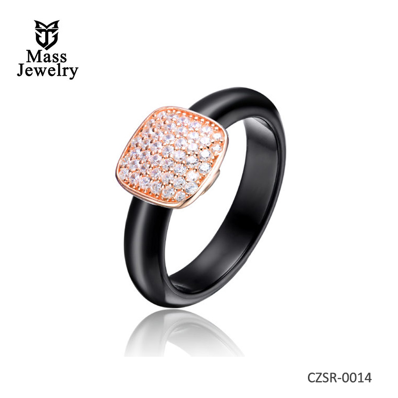 Black Ceramic Clear CZ Rose Silver Ring