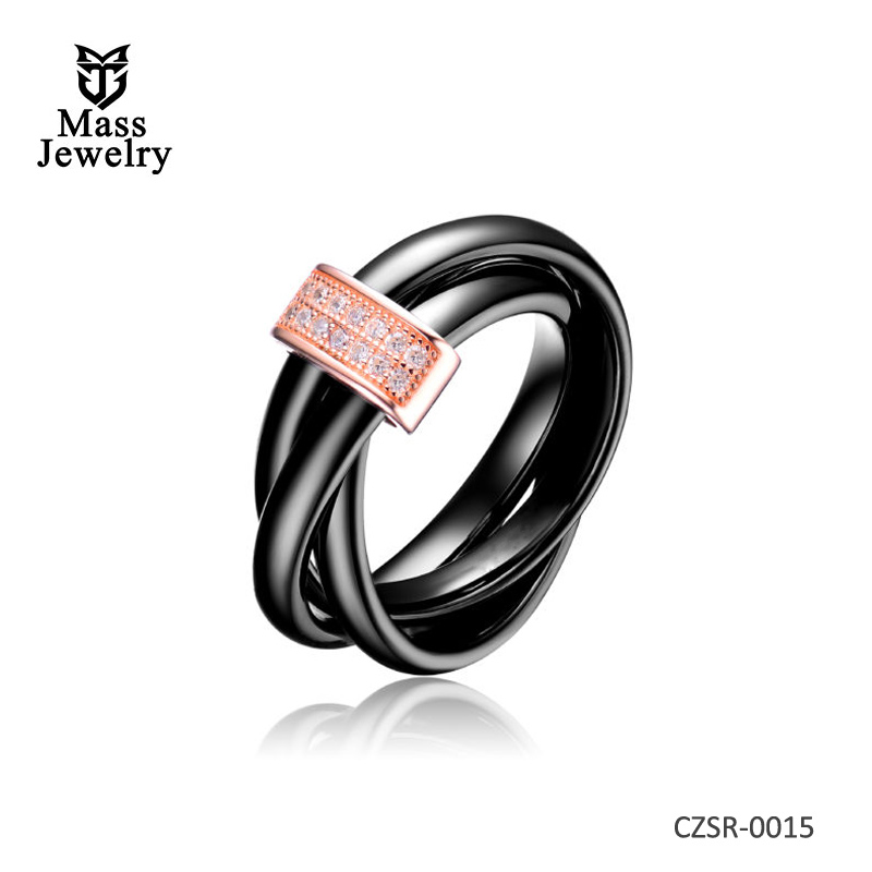 Black 3 Row Twisted Ceramic CZ Center Rose Ring