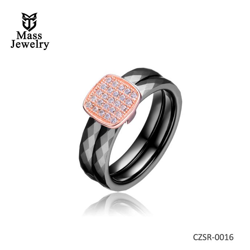 Black 2 Row Ceramic CZ Center Rose Ring
