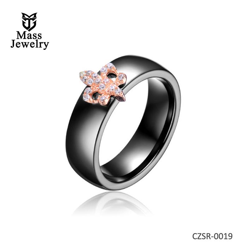 Black Ceramic Rose Silver Ring