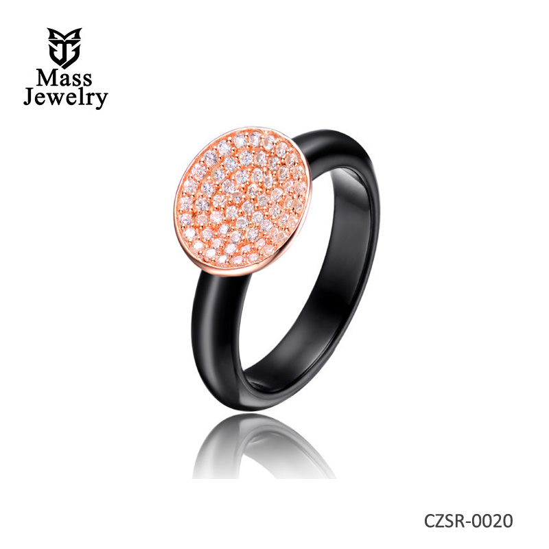 Black Ceramic Round Clear CZ Silver Ring