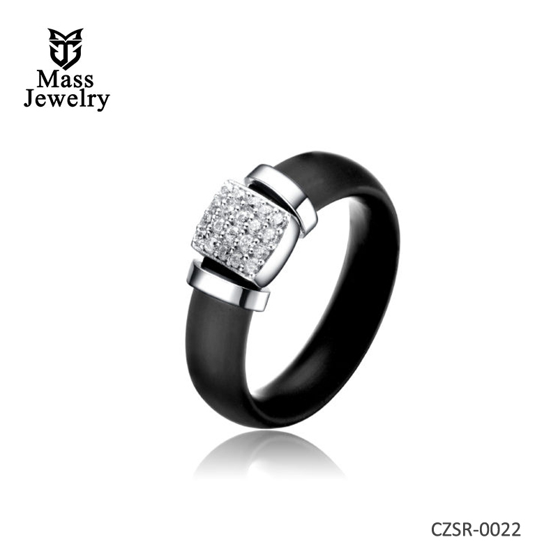 C.Z. Rhodium Plated Black Rubber Ring