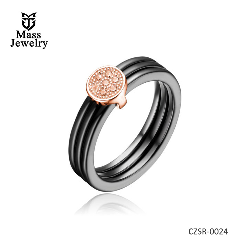 Black Ceramic Tripple Row CZ Center Rose Ring