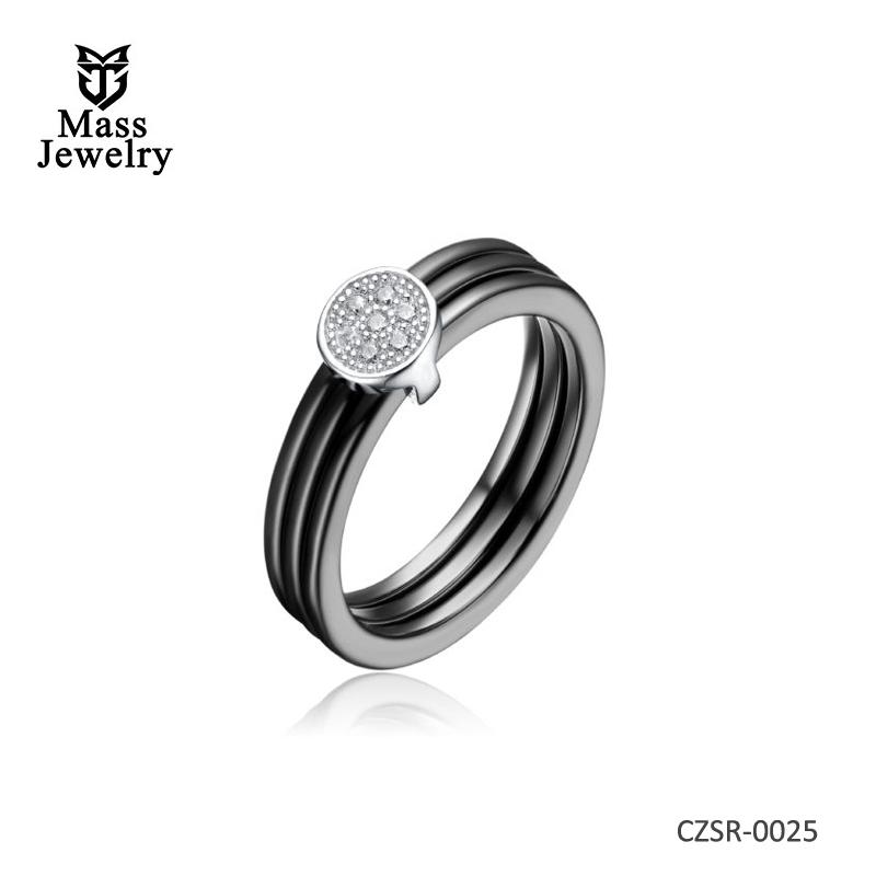 Black Ceramic Tripple Row CZ Center Ring