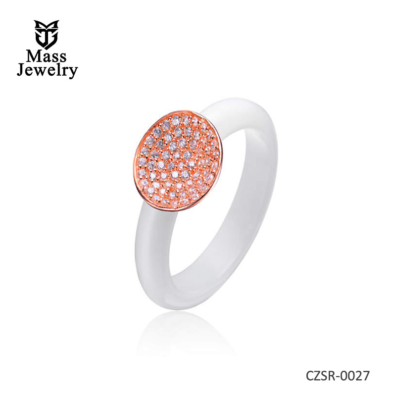 White Ceramic Round Clear CZ Silver Ring
