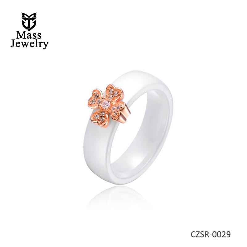 White Ceramic Rose Silver Ring
