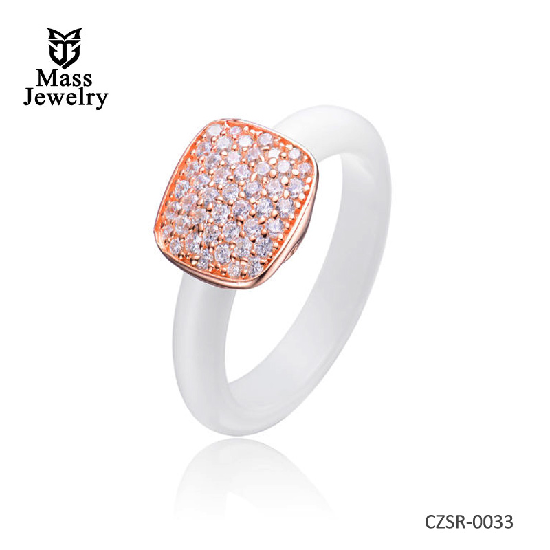 White Ceramic Clear CZ Silver Ring