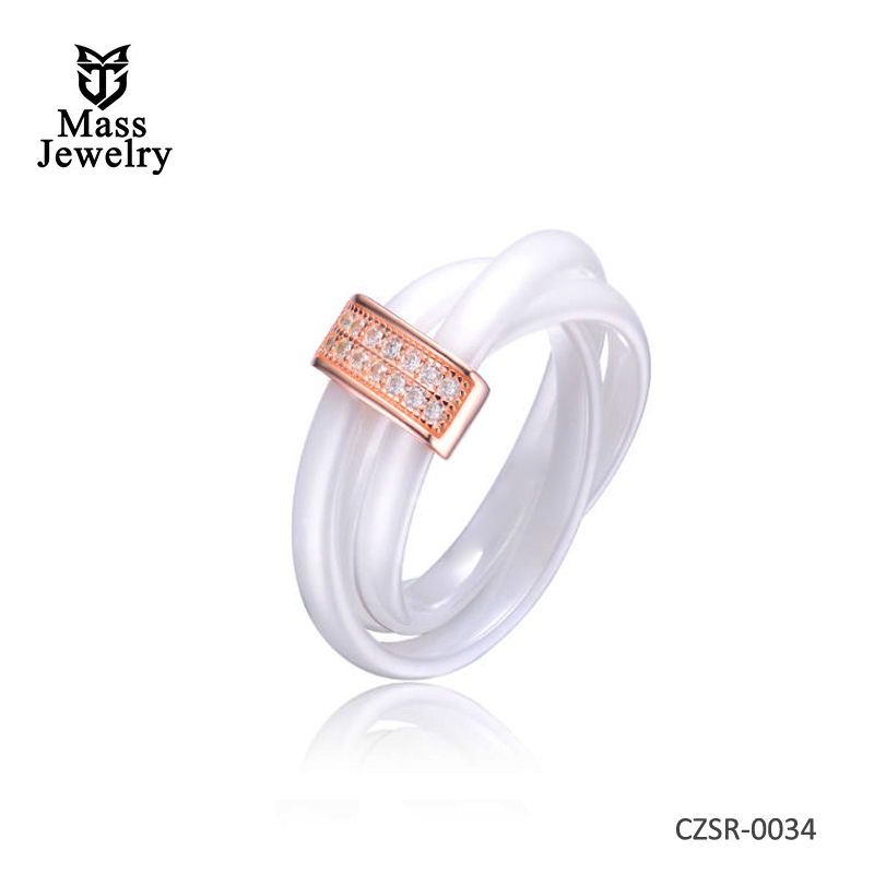 White 3 Row Twisted Ceramic CZ Center Rose Ring