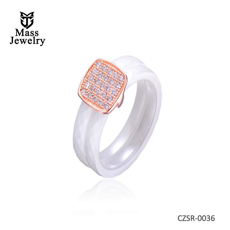 White 2 Row Ceramic CZ Center Rose Ring