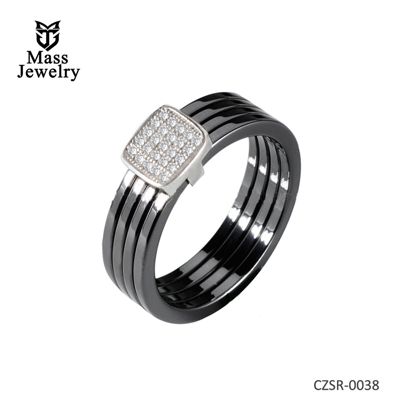 925 Silver CZ Ring Wedding Engagement Ring Polished 4pcs Black Plain Ceramic Ring Size 6 - 10