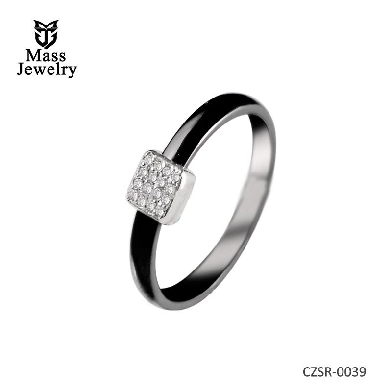 Women Wedding Ceramic 925 Silver Rings High Polished Rhodium Plated Rings