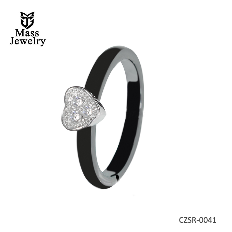 Fashional ceramic diamond 925 sterling silver ring