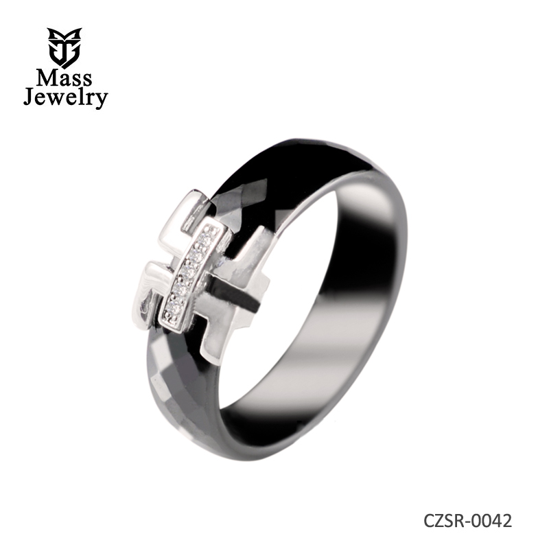 6MM High Quality Faceted Black Jewelry Ceramic Rings For men and women