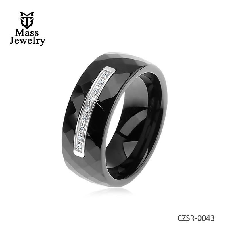 925 Silver Ring Polished Faceted Black and White Ceramic CZ Ring