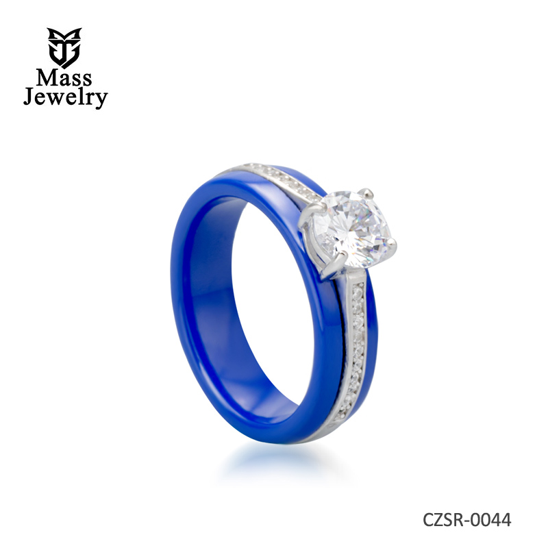 High quality sterling silver ceramic wedding ring
