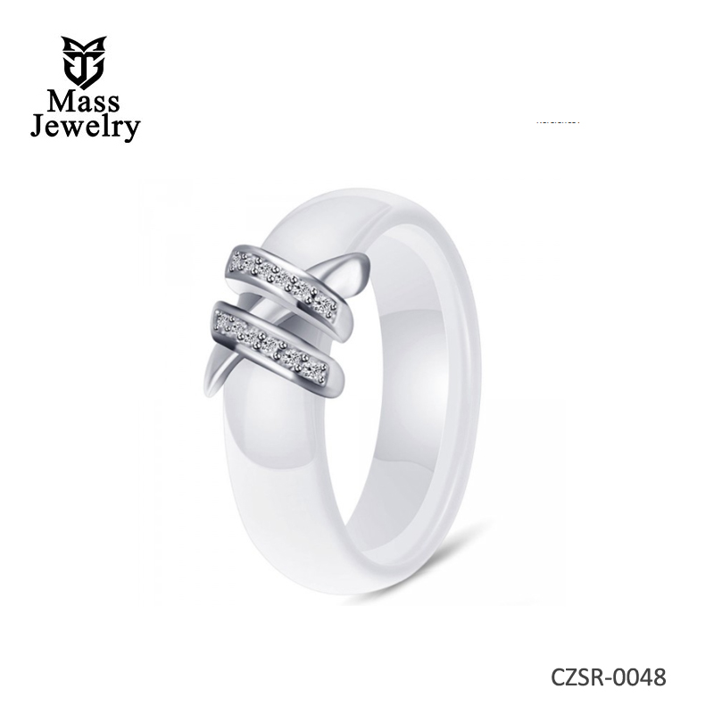 WOMEN'S WHITE CERAMIC ZIRCONIA INLAY BAND RING
