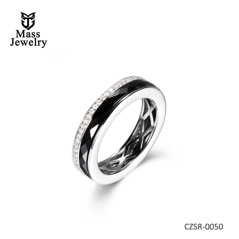 Wholesale High-tech Ceramic Ring 925 Sterling Silver Ring Encrusted Zircon Ring