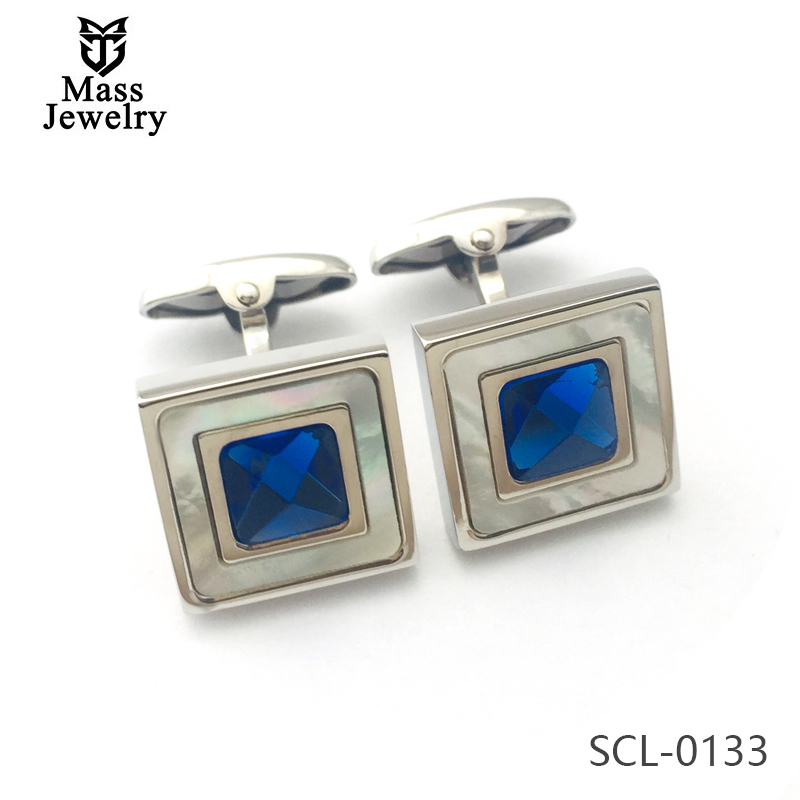 Wholesale Custom Stainless Steel Men'S Luxury Cufflinks With Mop And Swarovski Crystal