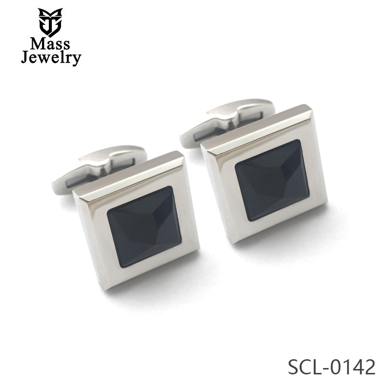 Black Square Swarovski Crystal Stainless Steel Mens Cufflinks