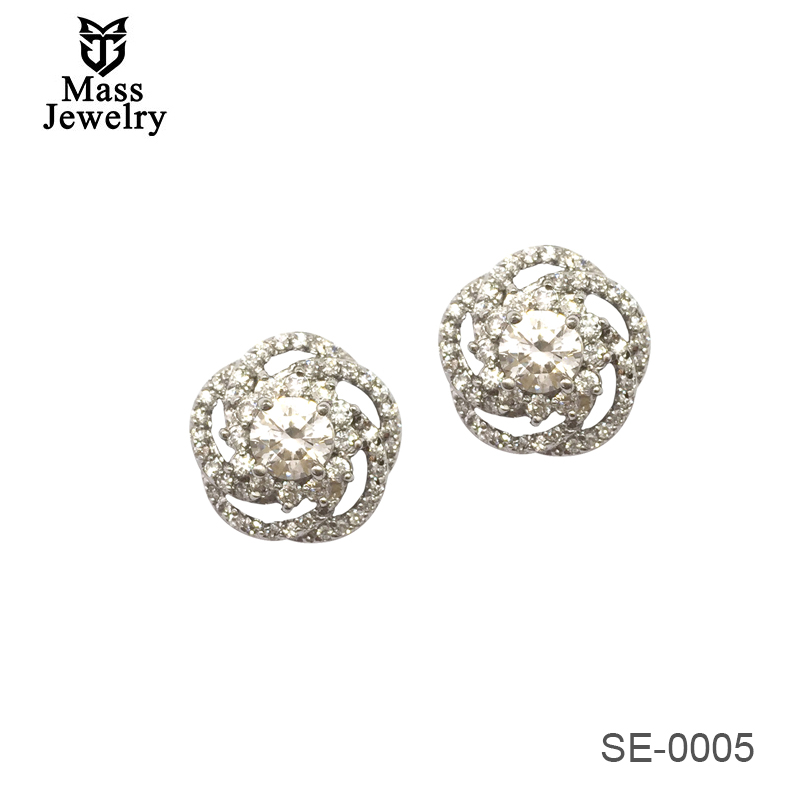 Wholesale 925 Sterling Silver Hollow Camellia Rose Stud Earrings Pave Set With Zircon